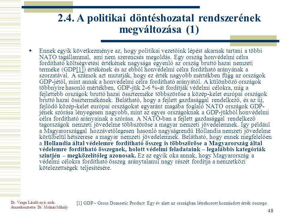 2.4. A politikai döntéshozatal rendszerének megváltozása (1)