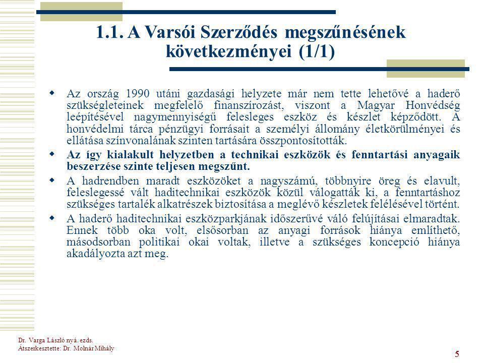 1.1. A Varsói Szerződés megszűnésének következményei (1/1)