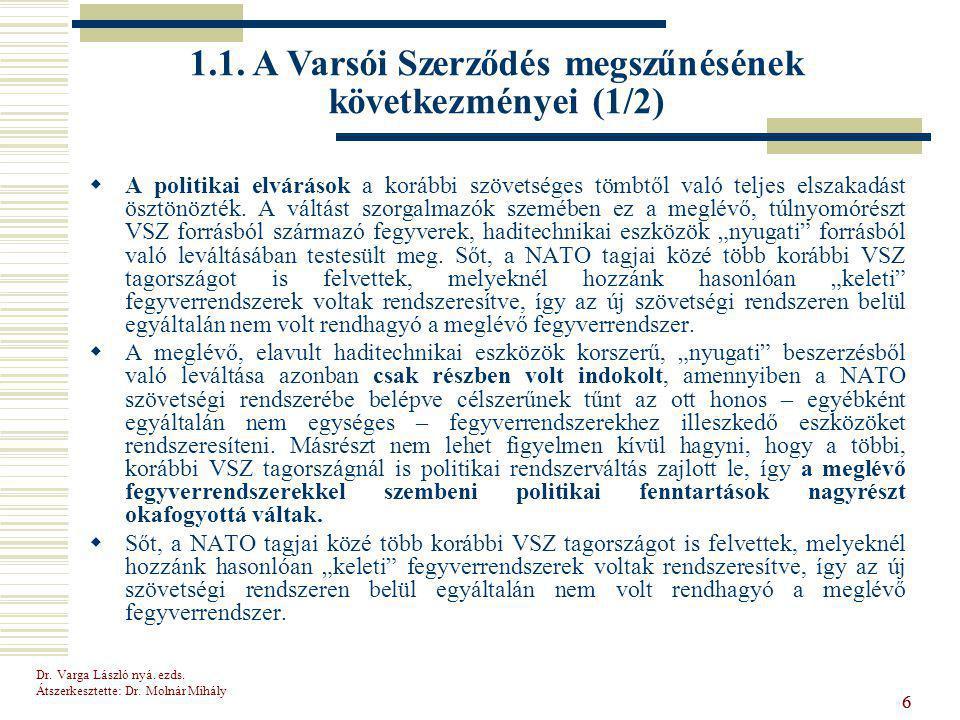 1.1. A Varsói Szerződés megszűnésének következményei (1/2)