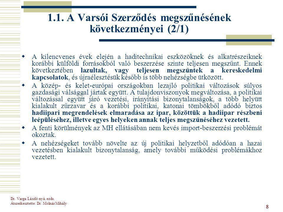 1.1. A Varsói Szerződés megszűnésének következményei (2/1)