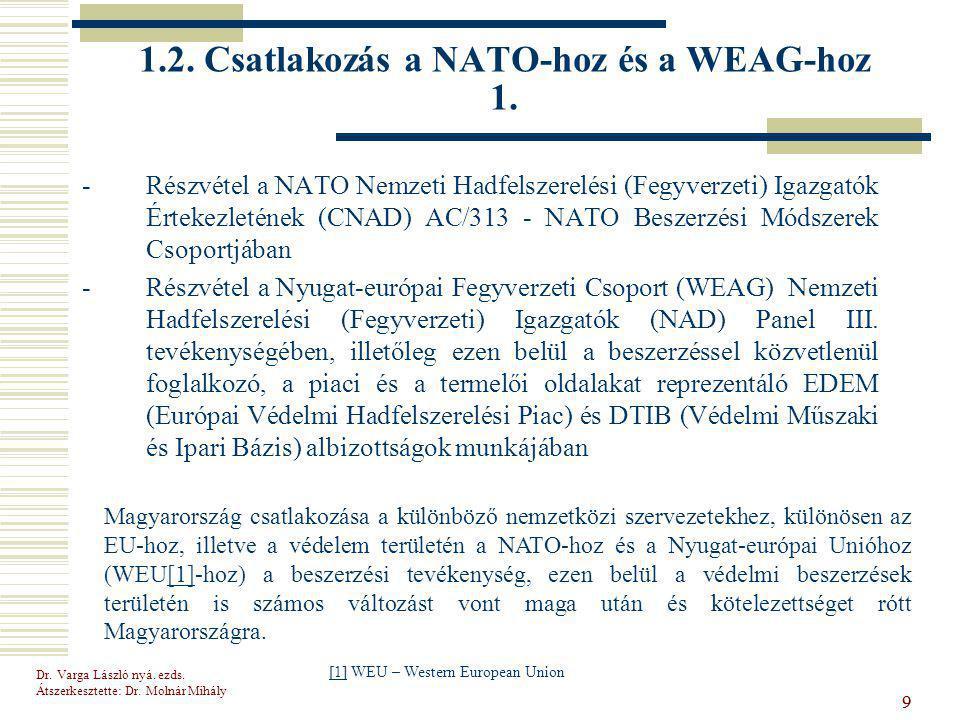1.2. Csatlakozás a NATO-hoz és a WEAG-hoz 1.
