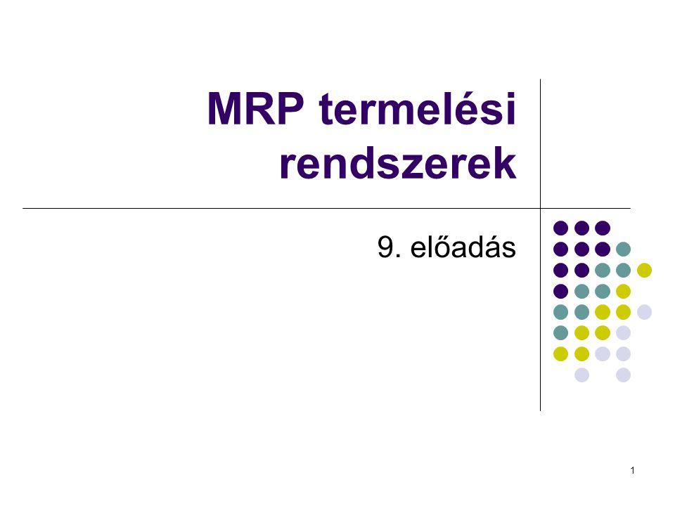 MRP termelési rendszerek