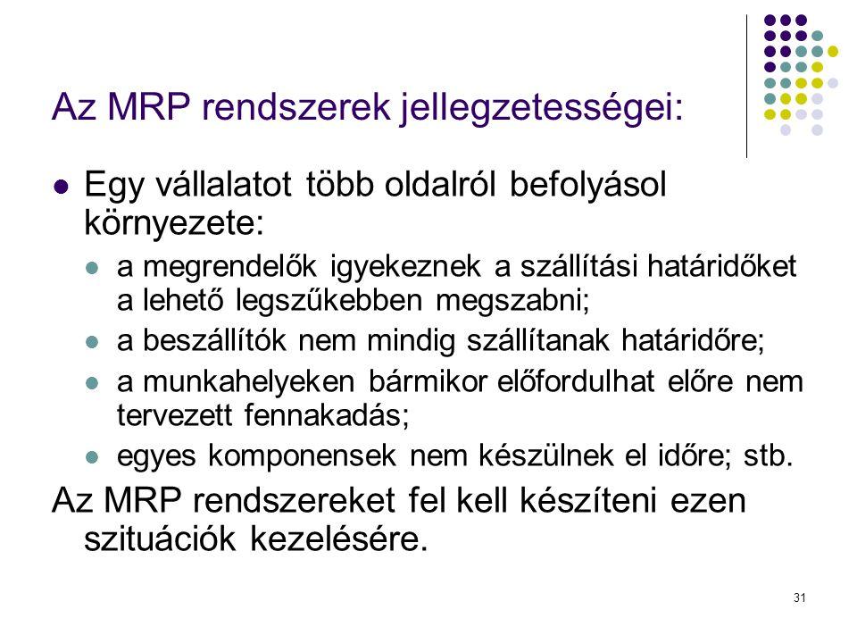 Az MRP rendszerek jellegzetességei: