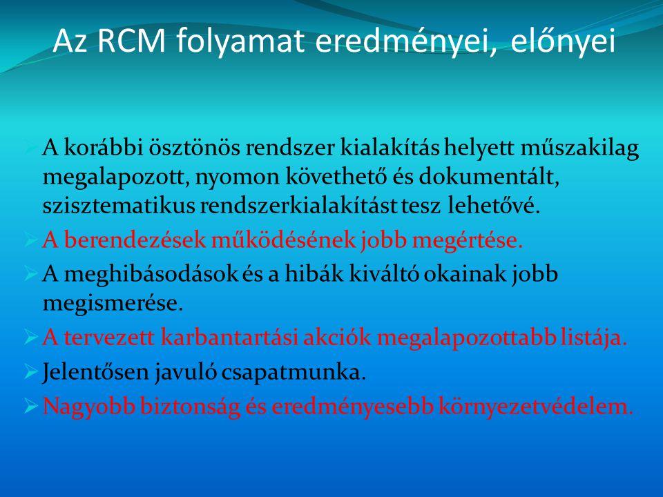 Az RCM folyamat eredményei, előnyei