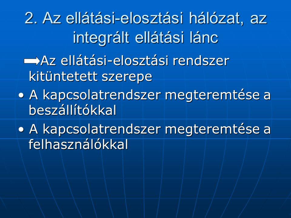2. Az ellátási-elosztási hálózat, az integrált ellátási lánc