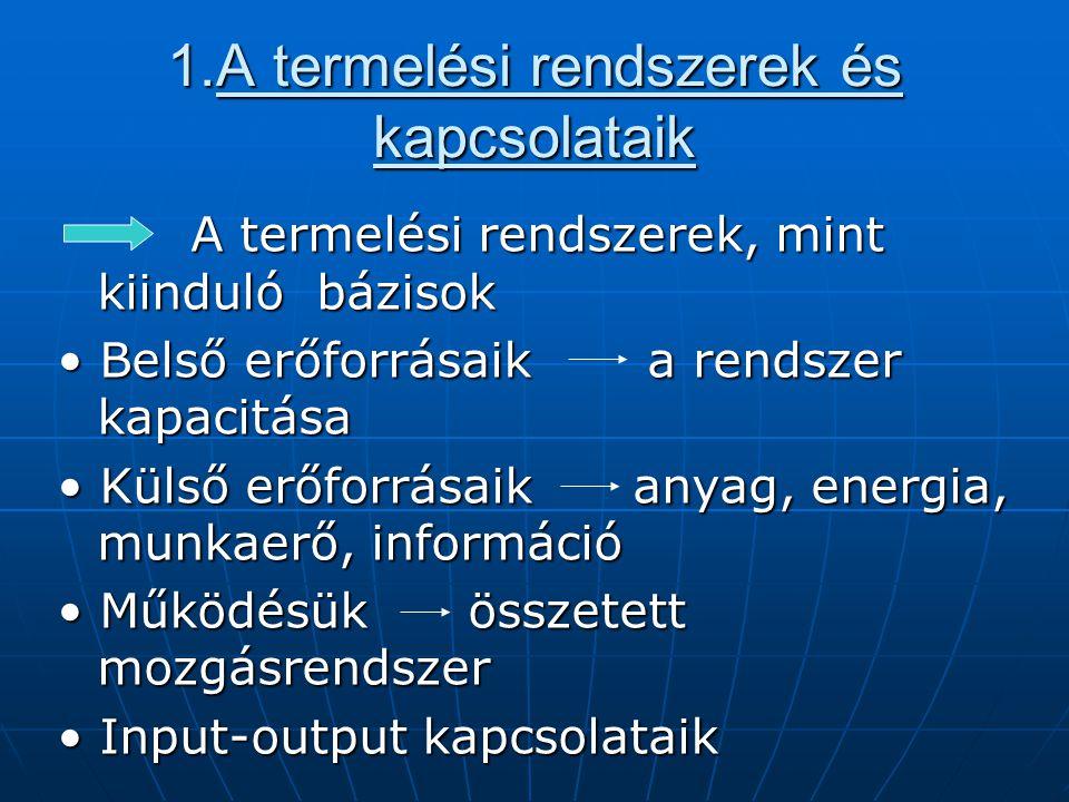 1.A termelési rendszerek és kapcsolataik