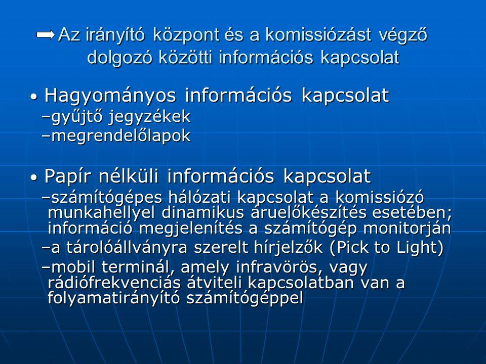 Az irányító központ és a komissiózást végző dolgozó közötti információs kapcsolat