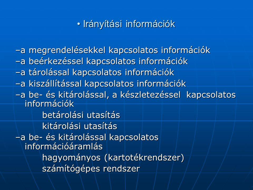 • Irányítási információk