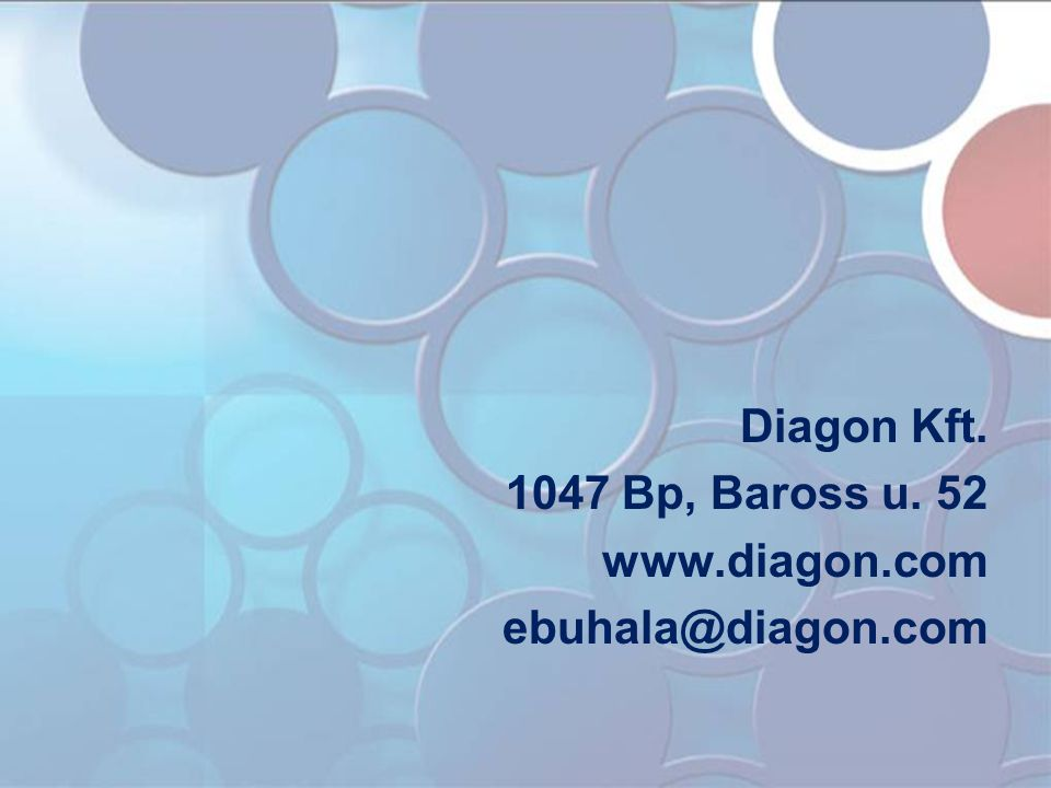 Diagon Kft. 1047 Bp, Baross u. 52 www.diagon.com ebuhala@diagon.com