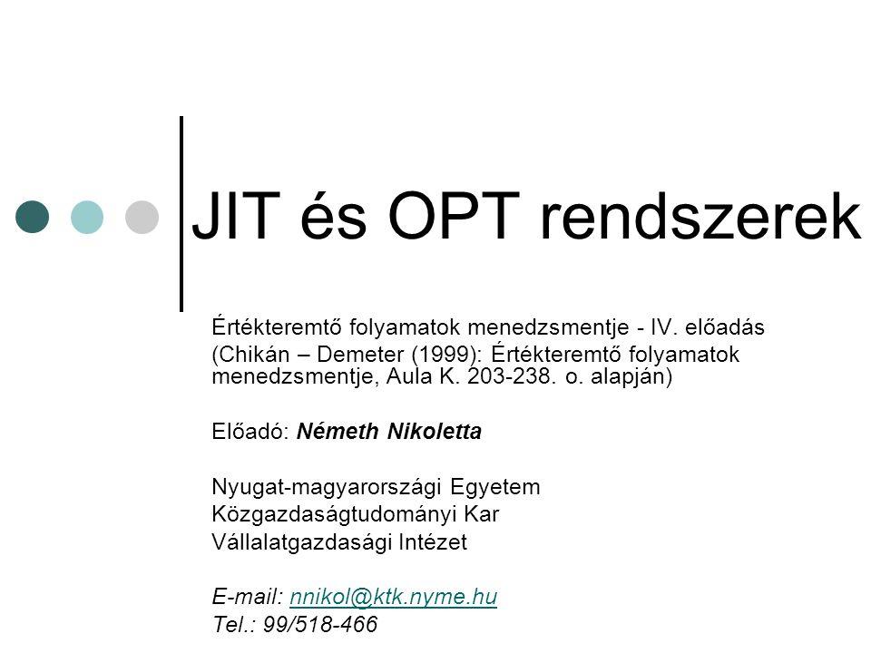 JIT és OPT rendszerek Értékteremtő folyamatok menedzsmentje - IV. előadás.