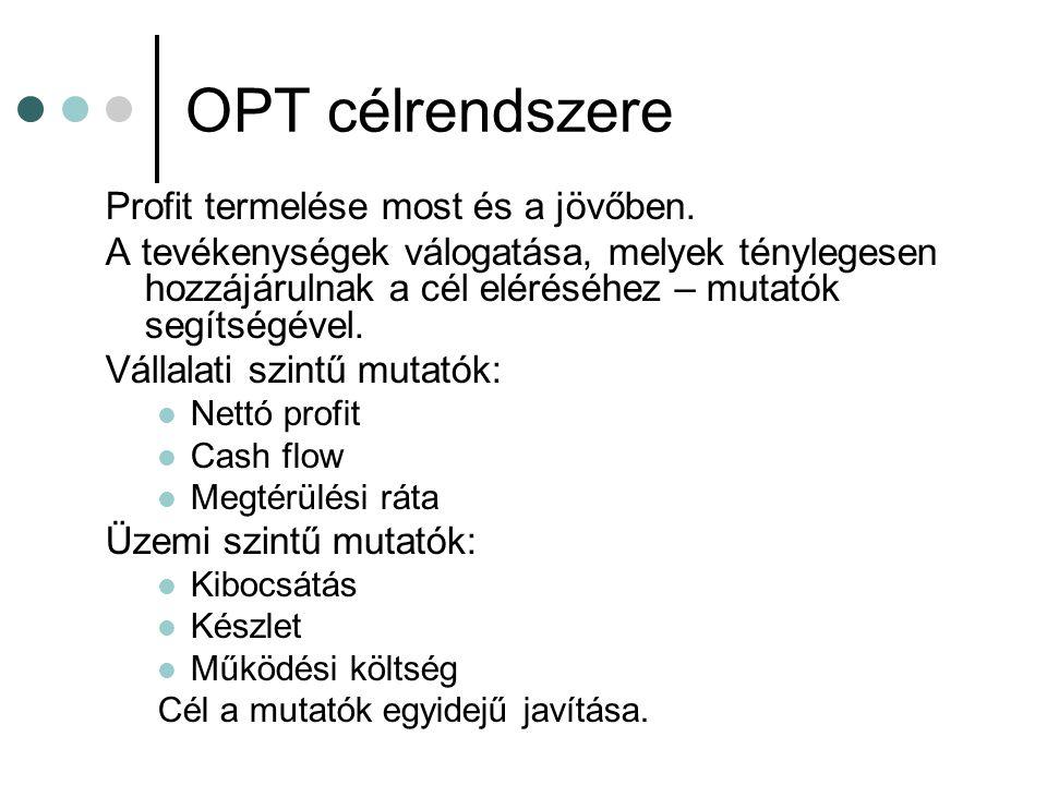 OPT célrendszere Profit termelése most és a jövőben.