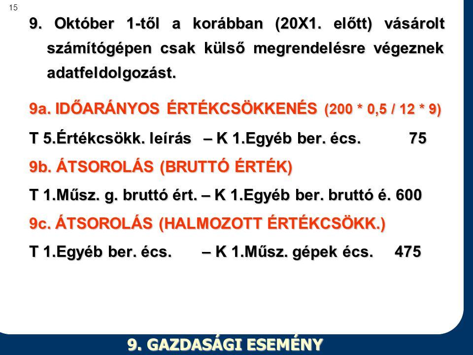 9. Október 1-től a korábban (20X1