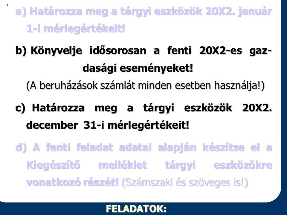 a) Határozza meg a tárgyi eszközök 20X2. január 1-i mérlegértékeit!