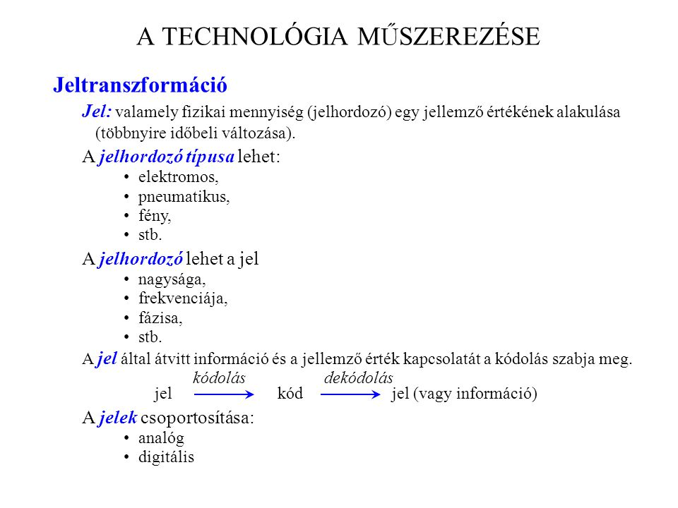 A TECHNOLÓGIA MŰSZEREZÉSE