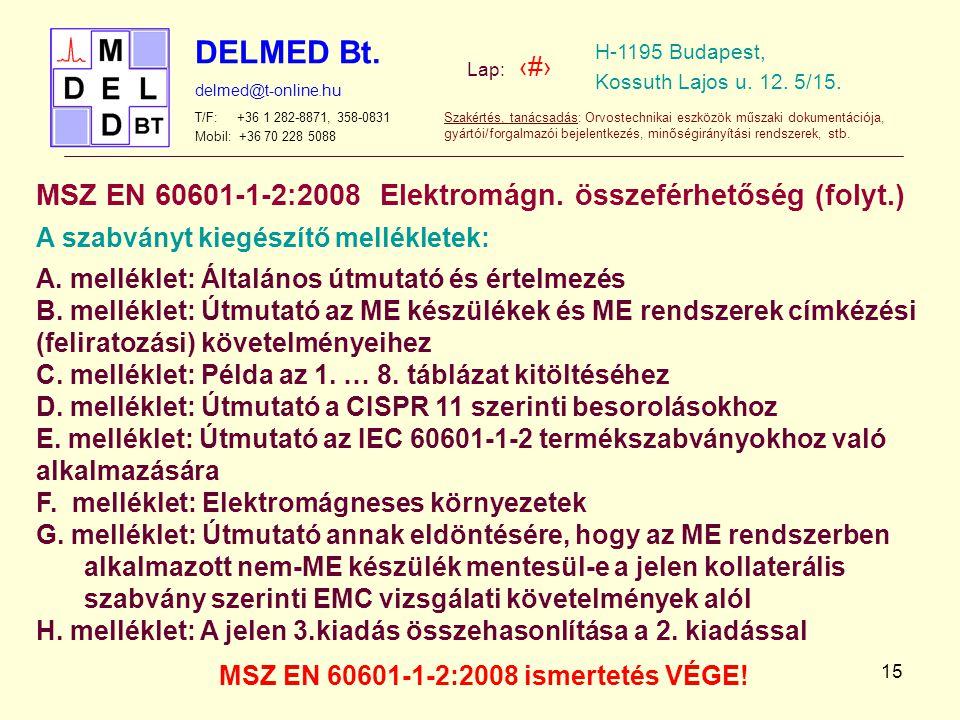 MSZ EN 60601-1-2:2008 ismertetés VÉGE!