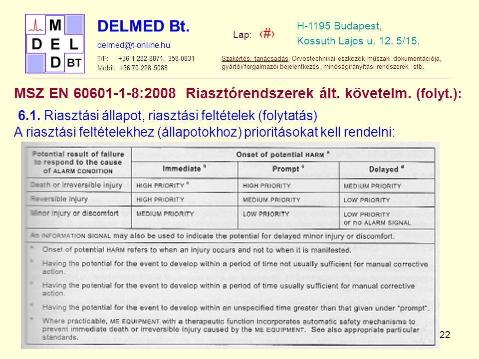 MSZ EN 60601-1-8:2008 Riasztórendszerek ált. követelm. (folyt.):