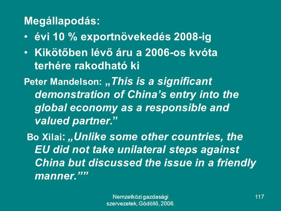 Nemzetközi gazdasági szervezetek, Gödöllő, 2006.