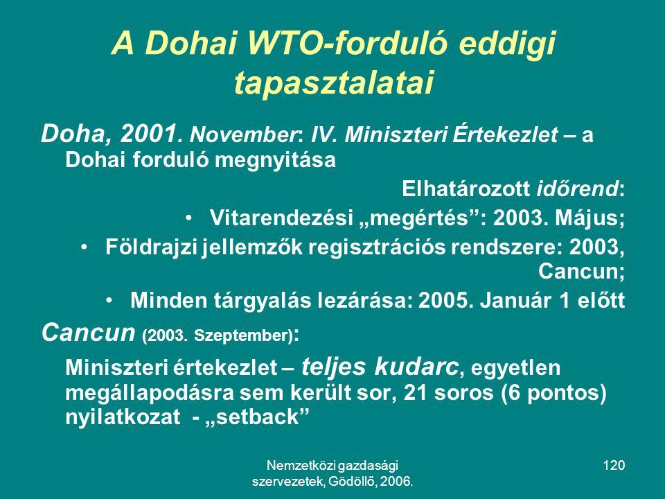 A Dohai WTO-forduló eddigi tapasztalatai