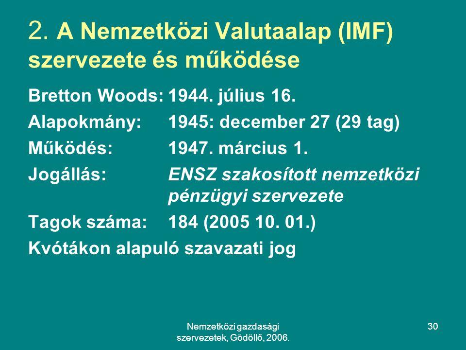 2. A Nemzetközi Valutaalap (IMF) szervezete és működése