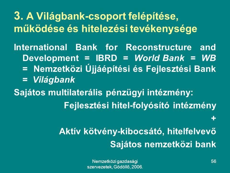 3. A Világbank-csoport felépítése, működése és hitelezési tevékenysége
