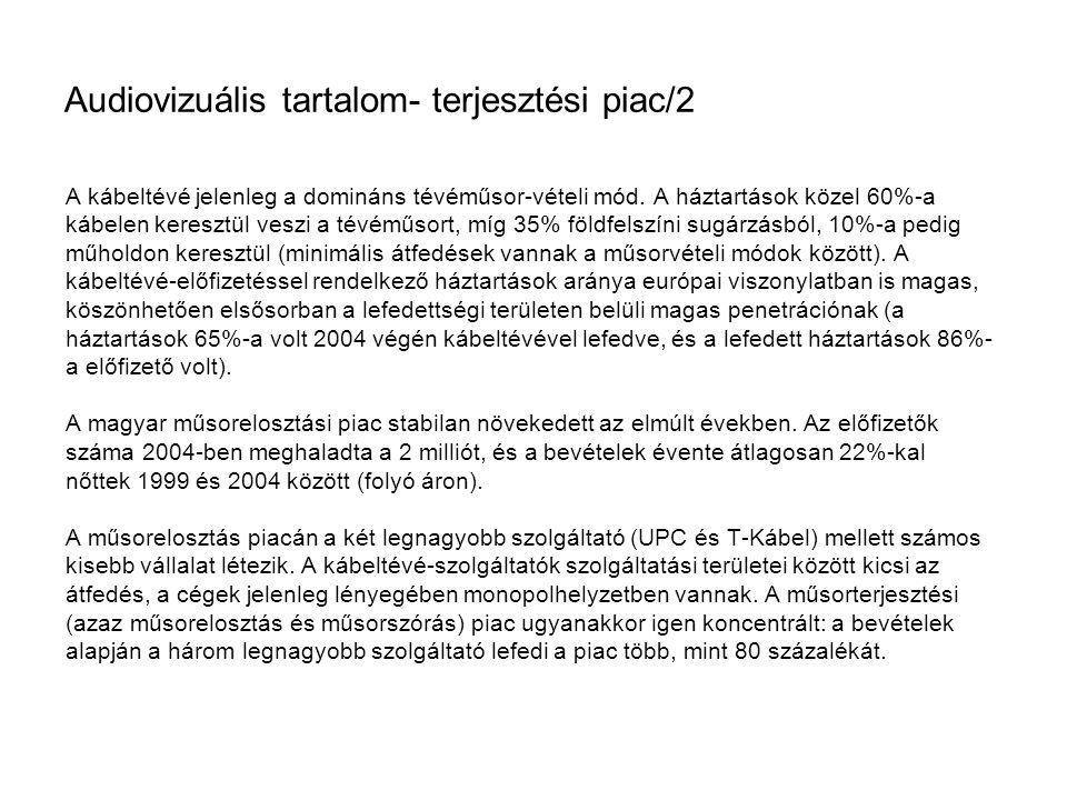 Audiovizuális tartalom- terjesztési piac/2