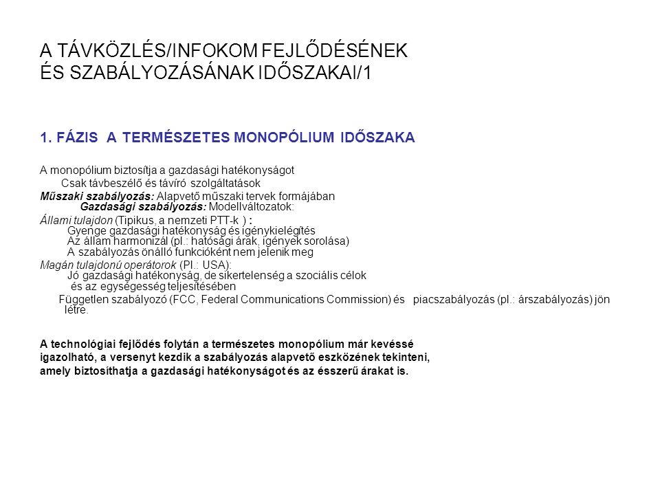 A TÁVKÖZLÉS/INFOKOM FEJLŐDÉSÉNEK ÉS SZABÁLYOZÁSÁNAK IDŐSZAKAI/1