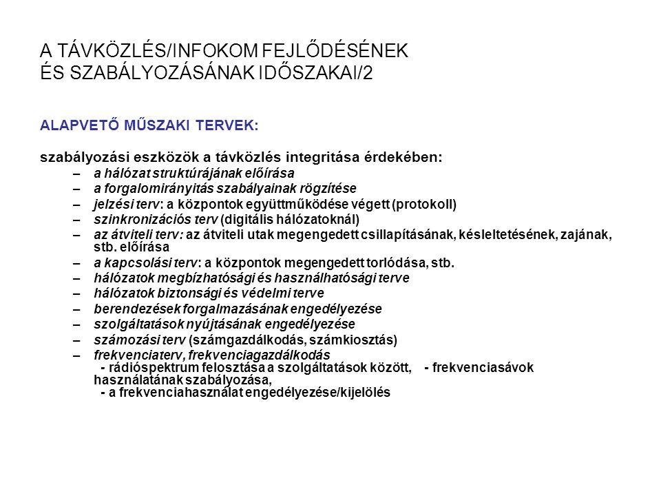 A TÁVKÖZLÉS/INFOKOM FEJLŐDÉSÉNEK ÉS SZABÁLYOZÁSÁNAK IDŐSZAKAI/2