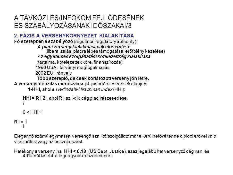 A TÁVKÖZLÉS/INFOKOM FEJLŐDÉSÉNEK ÉS SZABÁLYOZÁSÁNAK IDŐSZAKAI/3