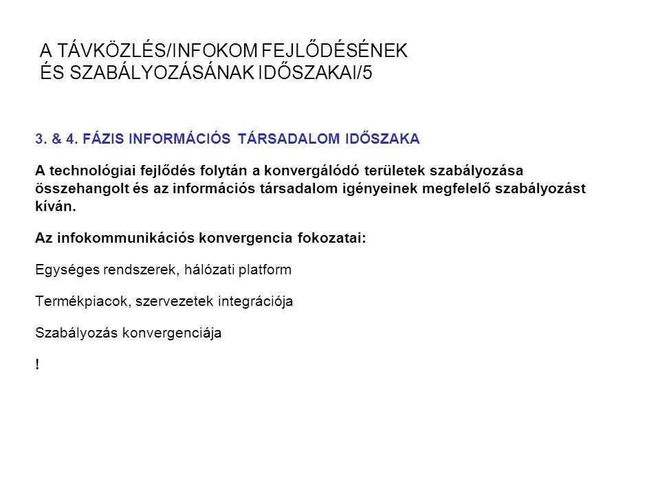 A TÁVKÖZLÉS/INFOKOM FEJLŐDÉSÉNEK ÉS SZABÁLYOZÁSÁNAK IDŐSZAKAI/5