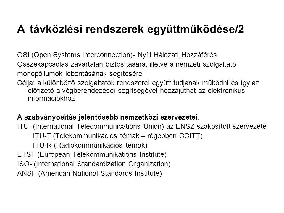 A távközlési rendszerek együttműködése/2