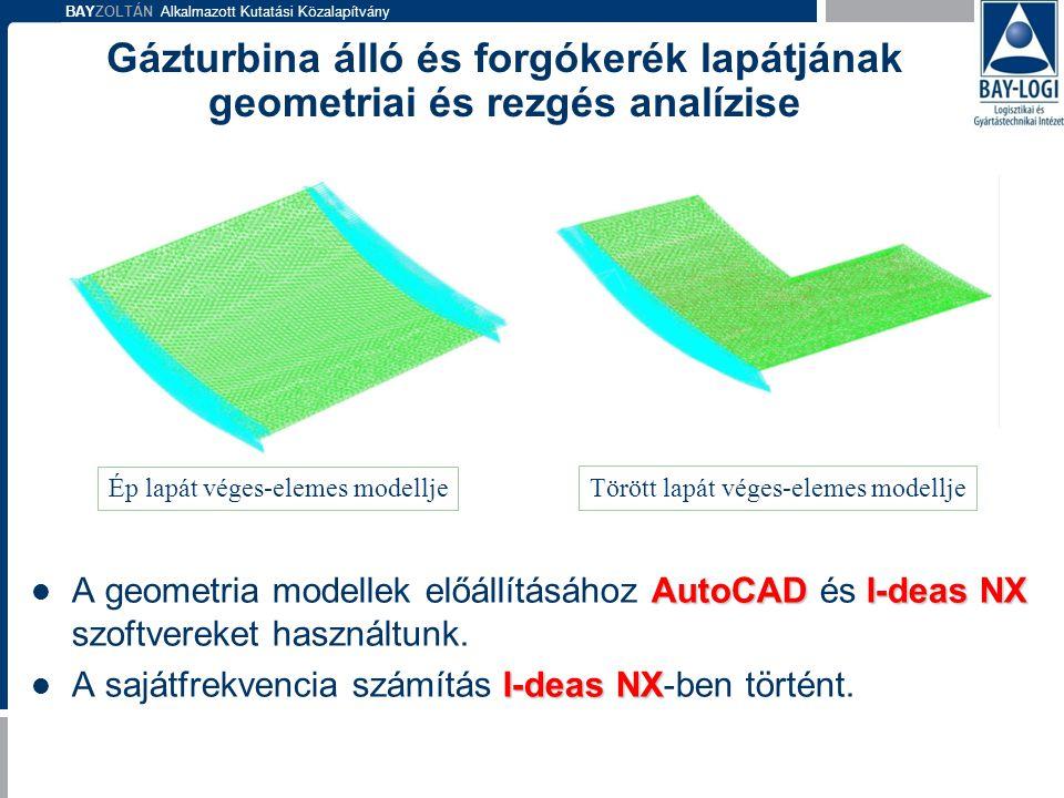 Gázturbina álló és forgókerék lapátjának geometriai és rezgés analízise