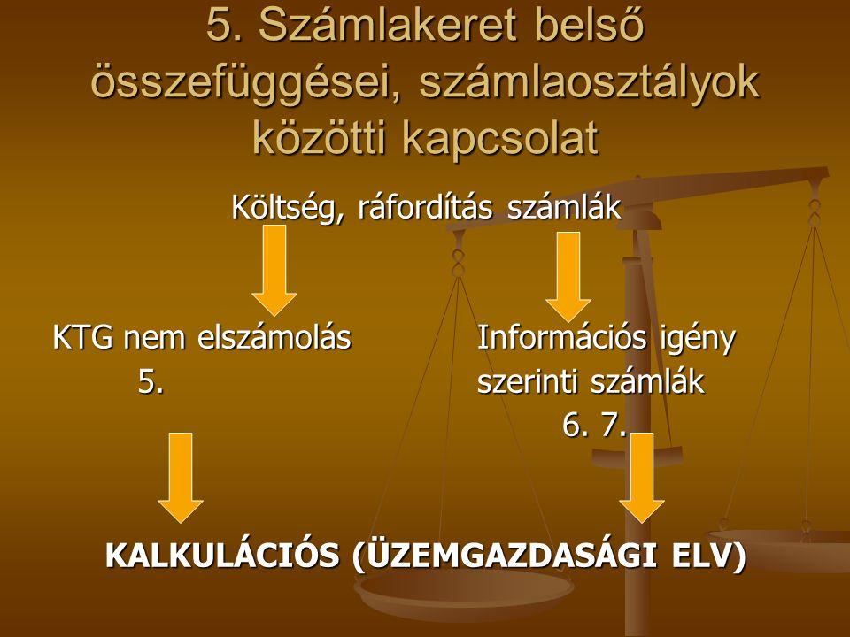 5. Számlakeret belső összefüggései, számlaosztályok közötti kapcsolat
