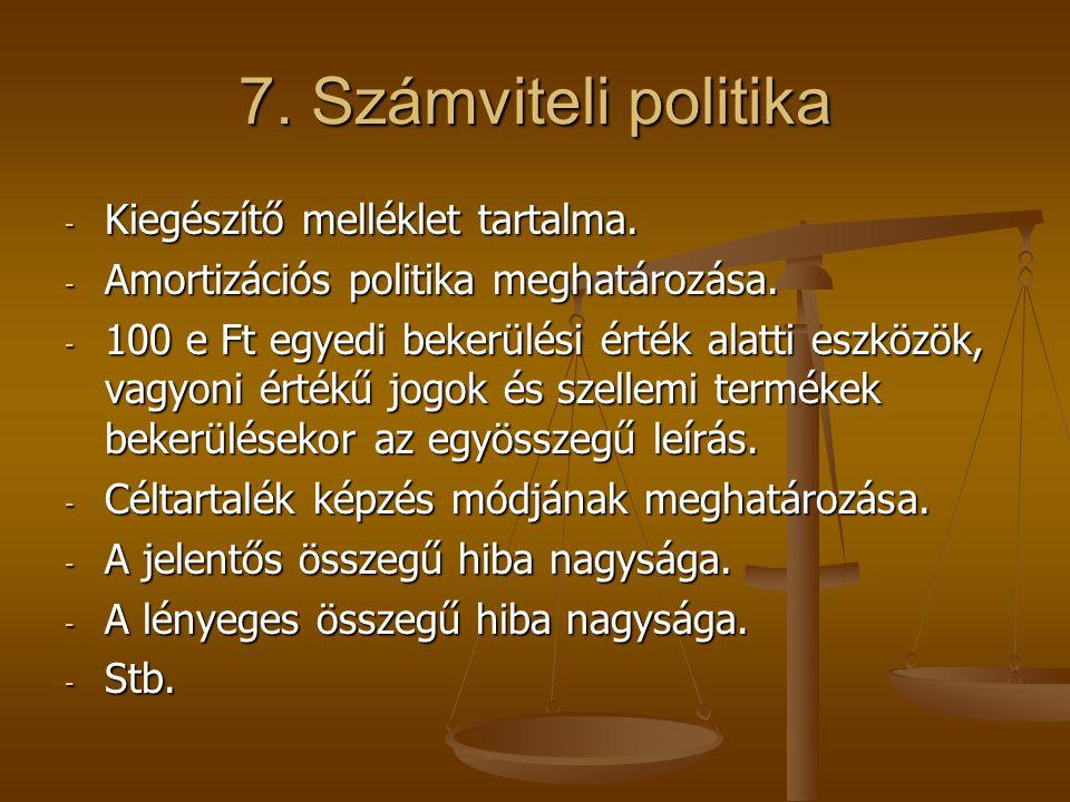 7. Számviteli politika Kiegészítő melléklet tartalma.