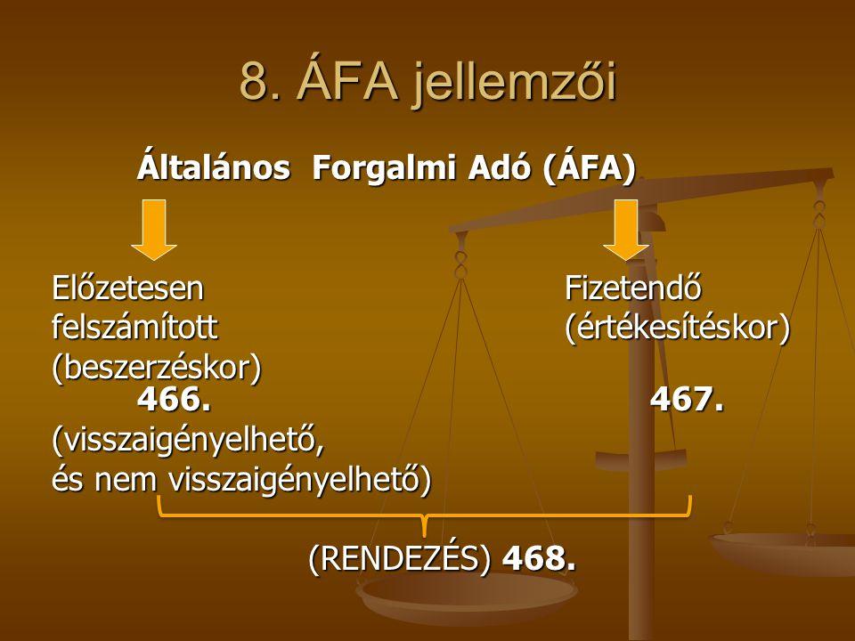 8. ÁFA jellemzői Általános Forgalmi Adó (ÁFA) Előzetesen Fizetendő
