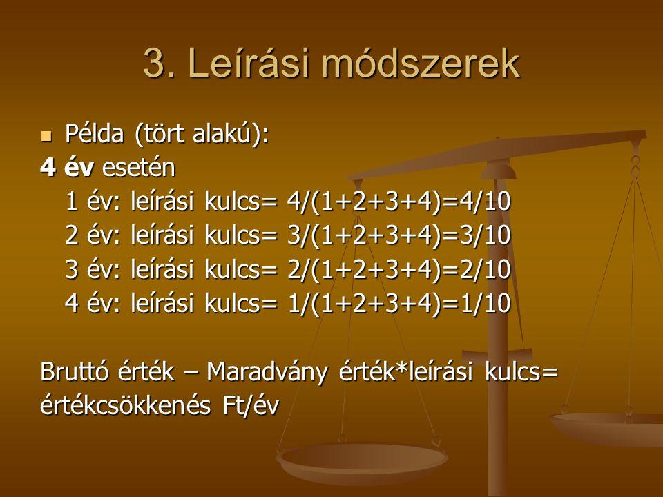 3. Leírási módszerek Példa (tört alakú): 4 év esetén