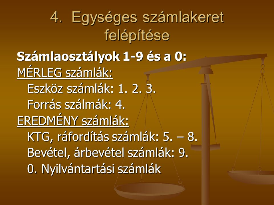 4. Egységes számlakeret felépítése