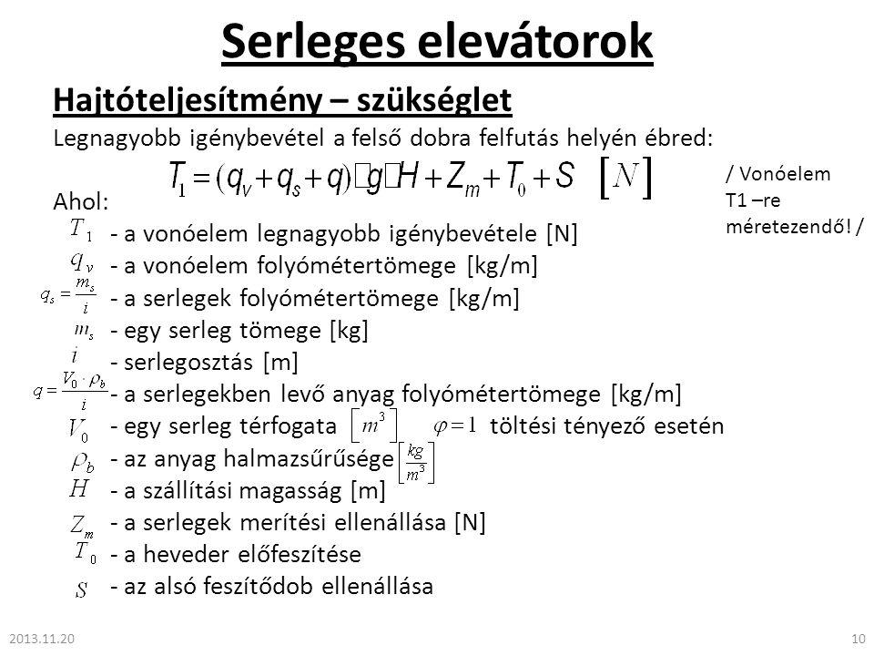 Serleges elevátorok Hajtóteljesítmény – szükséglet