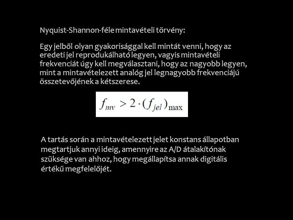 Nyquist-Shannon-féle mintavételi törvény: Egy jelből olyan gyakorisággal kell mintát venni, hogy az eredeti jel reprodukálható legyen, vagyis mintavételi frekvenciát úgy kell megválasztani, hogy az nagyobb legyen, mint a mintavételezett analóg jel legnagyobb frekvenciájú összetevőjének a kétszerese.