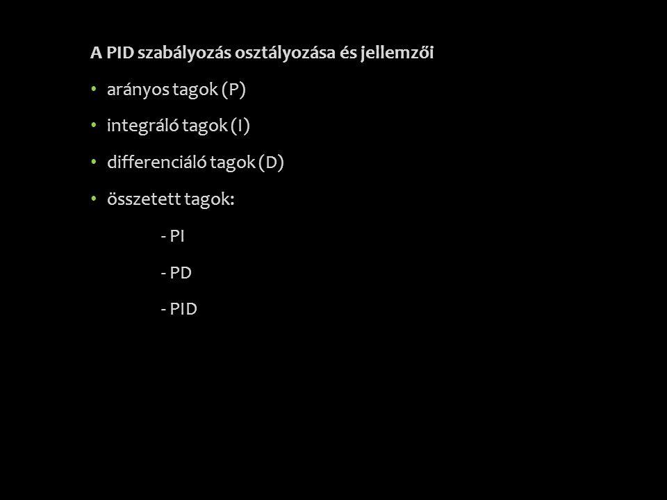 A PID szabályozás osztályozása és jellemzői