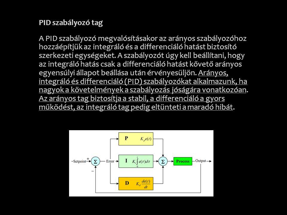 PID szabályozó tag A PID szabályozó megvalósításakor az arányos szabályozóhoz hozzáépítjük az integráló és a differenciáló hatást biztosító szerkezeti egységeket.