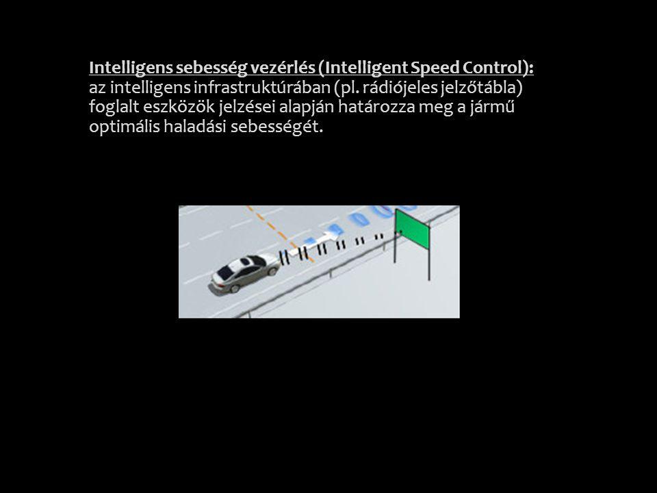 Intelligens sebesség vezérlés (Intelligent Speed Control): az intelligens infrastruktúrában (pl.