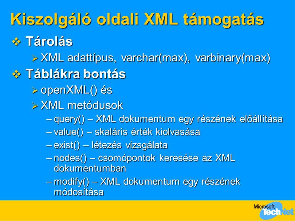 Kiszolgáló oldali XML támogatás