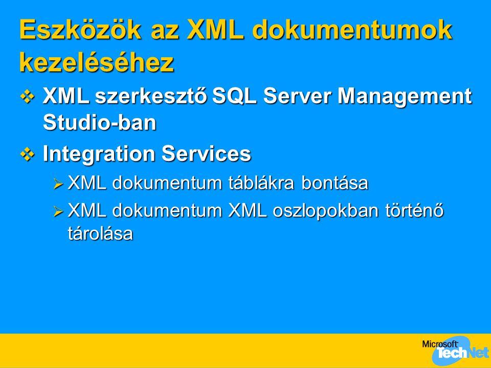 Eszközök az XML dokumentumok kezeléséhez