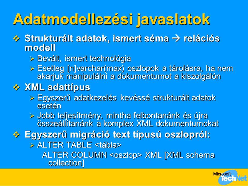 Adatmodellezési javaslatok