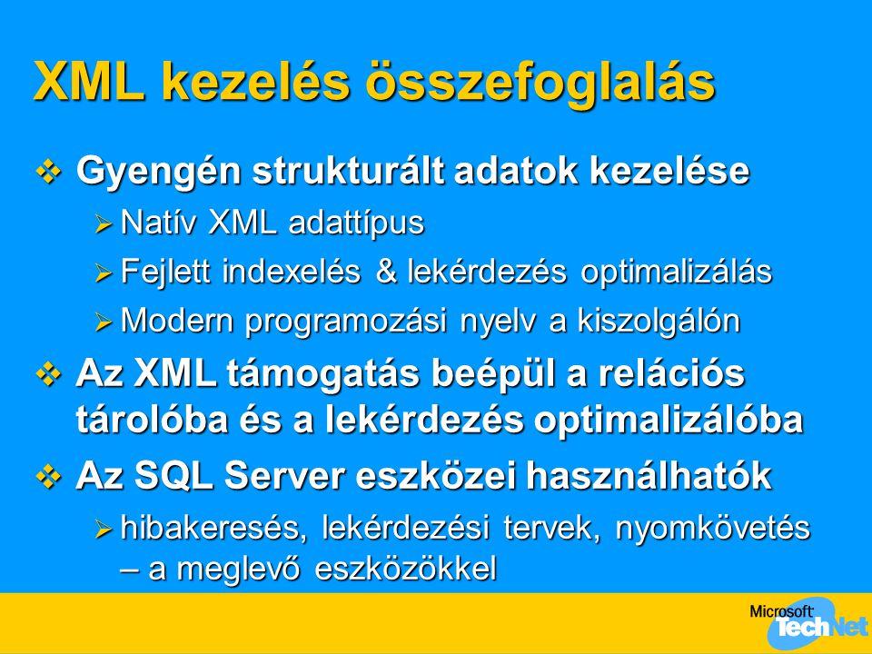 XML kezelés összefoglalás