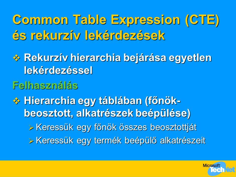 Common Table Expression (CTE) és rekurzív lekérdezések