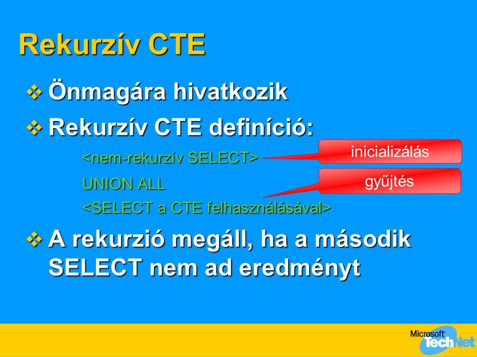 Rekurzív CTE Önmagára hivatkozik Rekurzív CTE definíció: