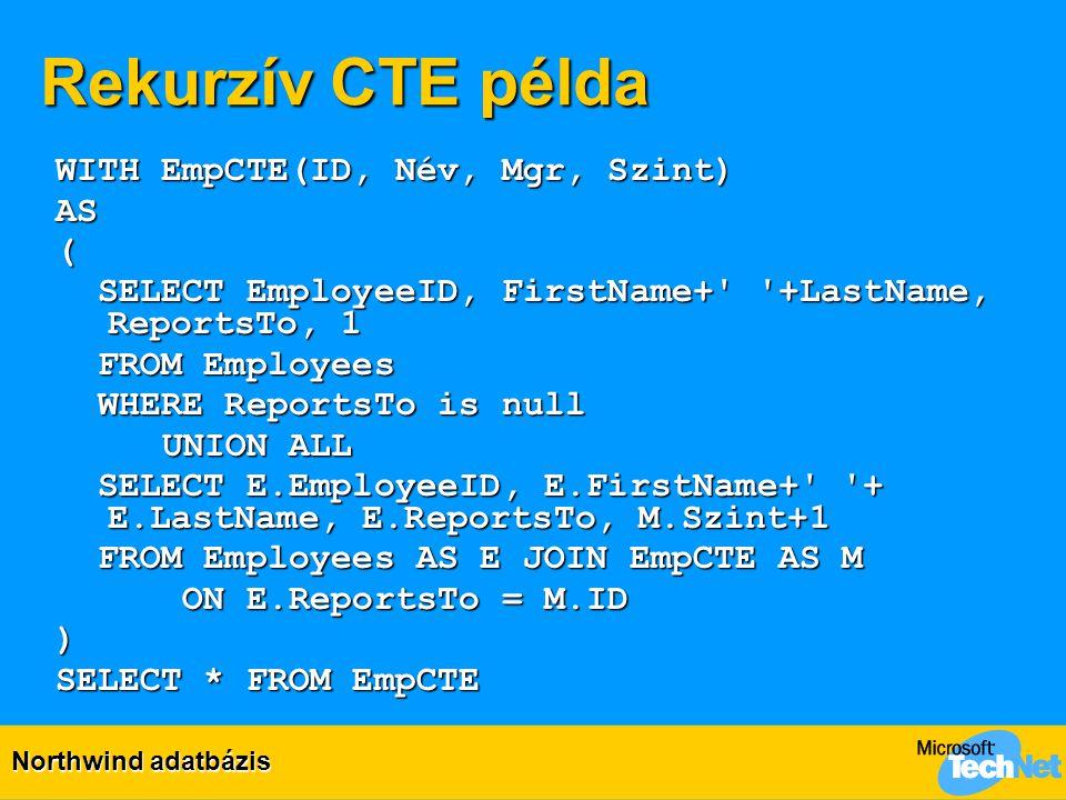 Rekurzív CTE példa WITH EmpCTE(ID, Név, Mgr, Szint) AS (
