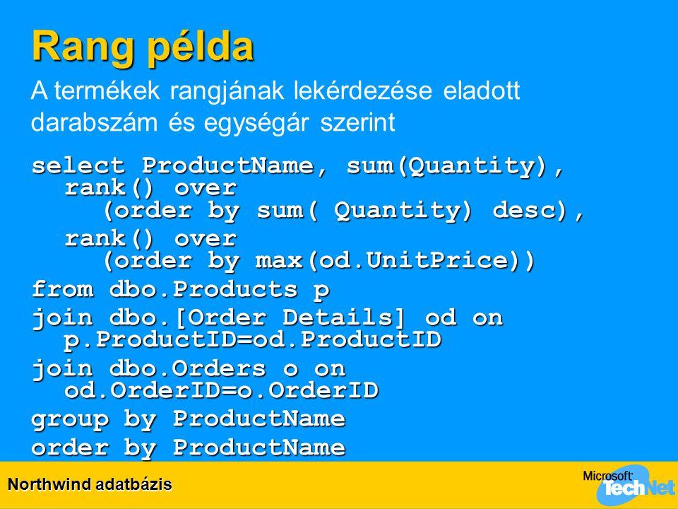 Rang példa A termékek rangjának lekérdezése eladott darabszám és egységár szerint.