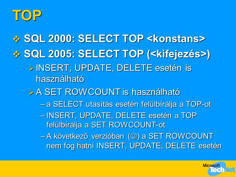 TOP SQL 2000: SELECT TOP <konstans>